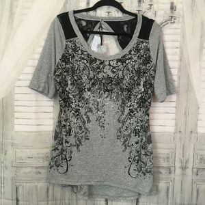 Maurices 0 14W Gray Black Lace Open Back Blosuse